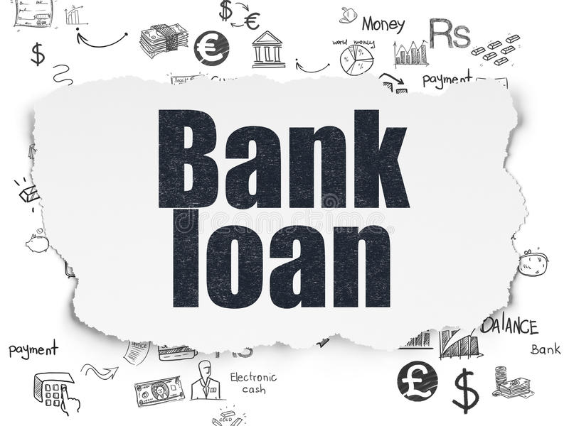 Concepto de la moneda: Crédito bancario en el papel rasgado ilustración del vector