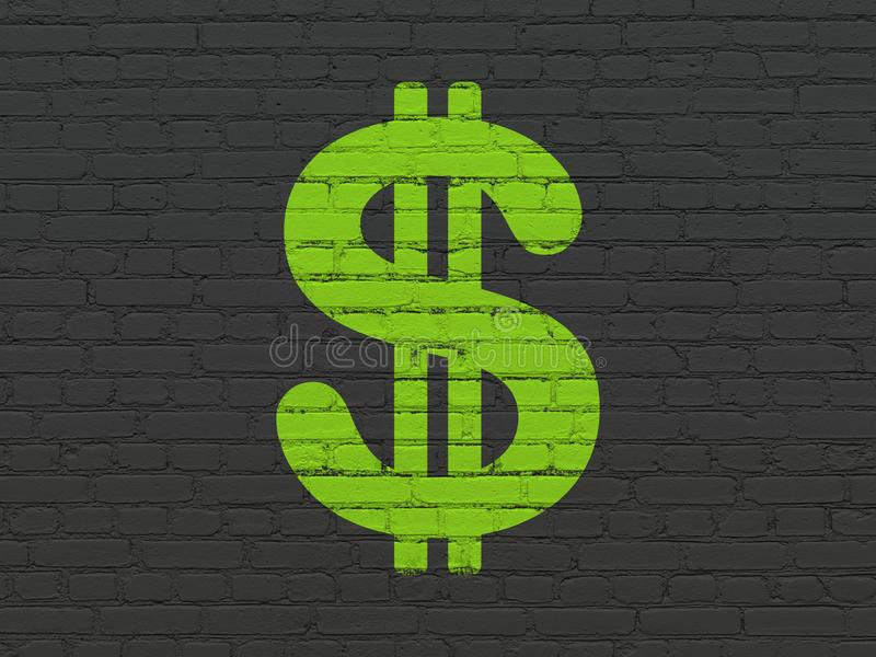 Concepto de la moneda: Dólar en fondo de la pared libre illustration