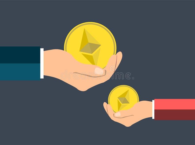 Concepto de la moneda del ethereum del negocio, tenencia de la mano Dé un ethereu de la medalla libre illustration