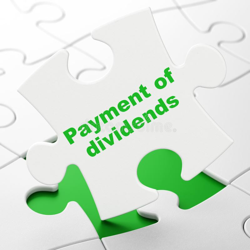 Concepto de la moneda: Pago de dividendos en fondo del rompecabezas stock de ilustración