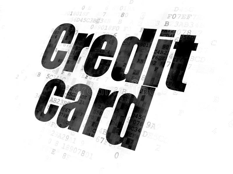 Concepto de la moneda: Tarjeta de crédito en fondo digital libre illustration