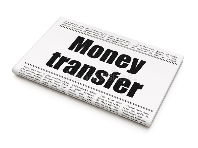 Concepto de la moneda: transferencia monetaria del título de periódico stock de ilustración