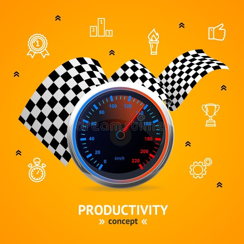 Concepto de la motivación y de la productividad con el velocímetro Vector ilustración del vector