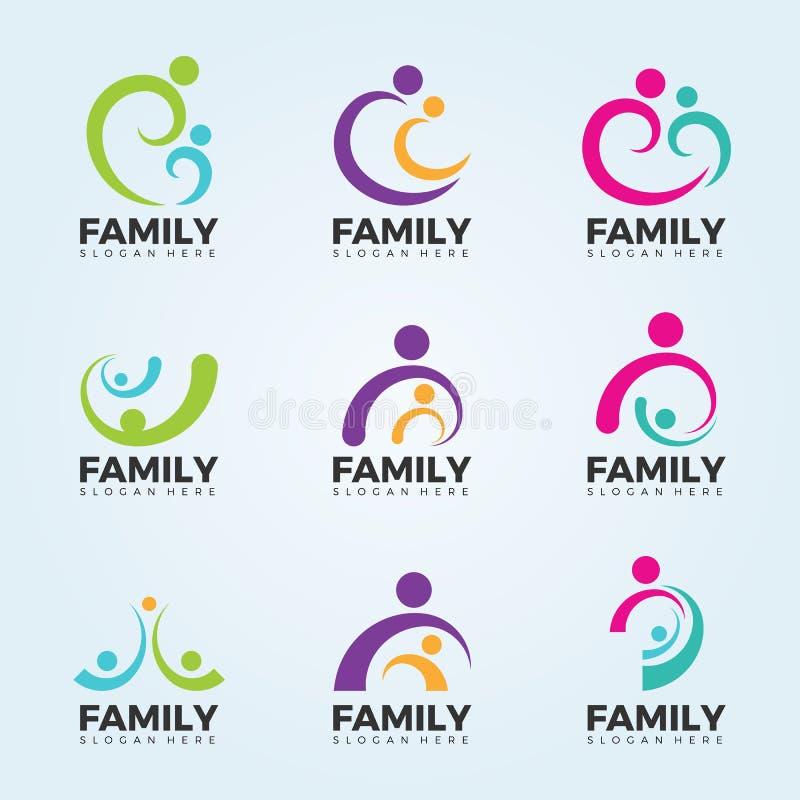 Concepto de la muestra del logotipo de la familia con la línea abstracta diseño de sistema moderno del vector del arte ilustración del vector