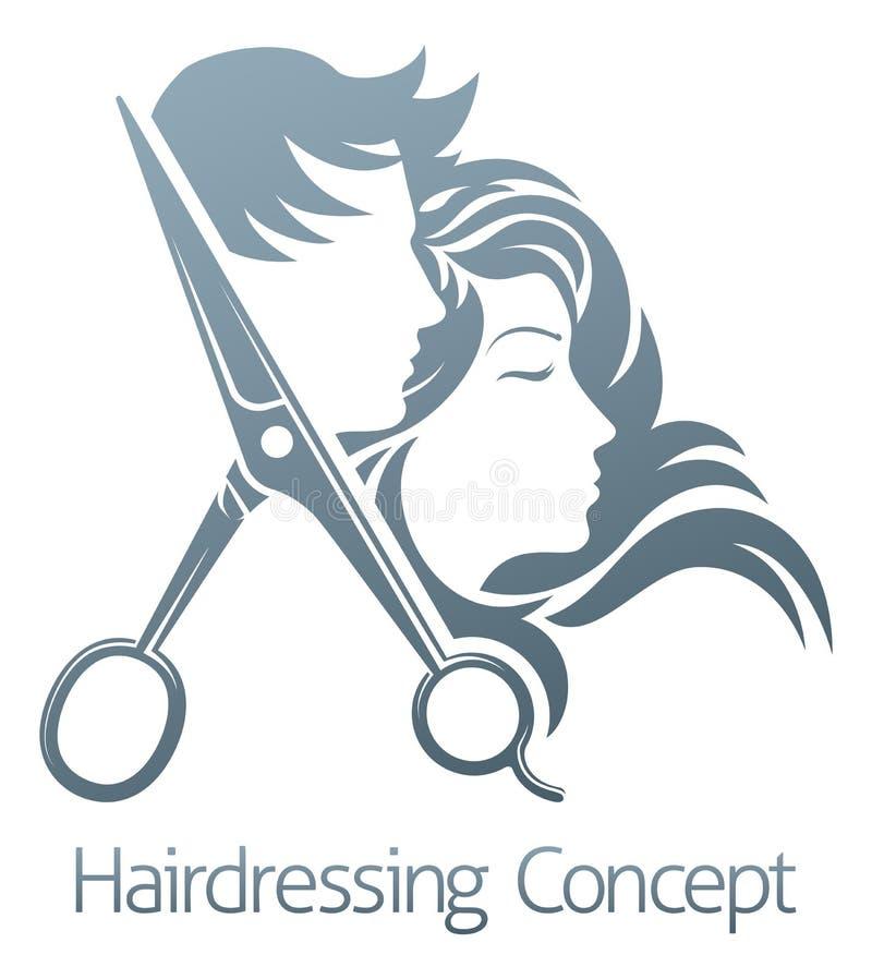 Concepto de la mujer del hombre de Hair Salon Scissors del peluquero stock de ilustración