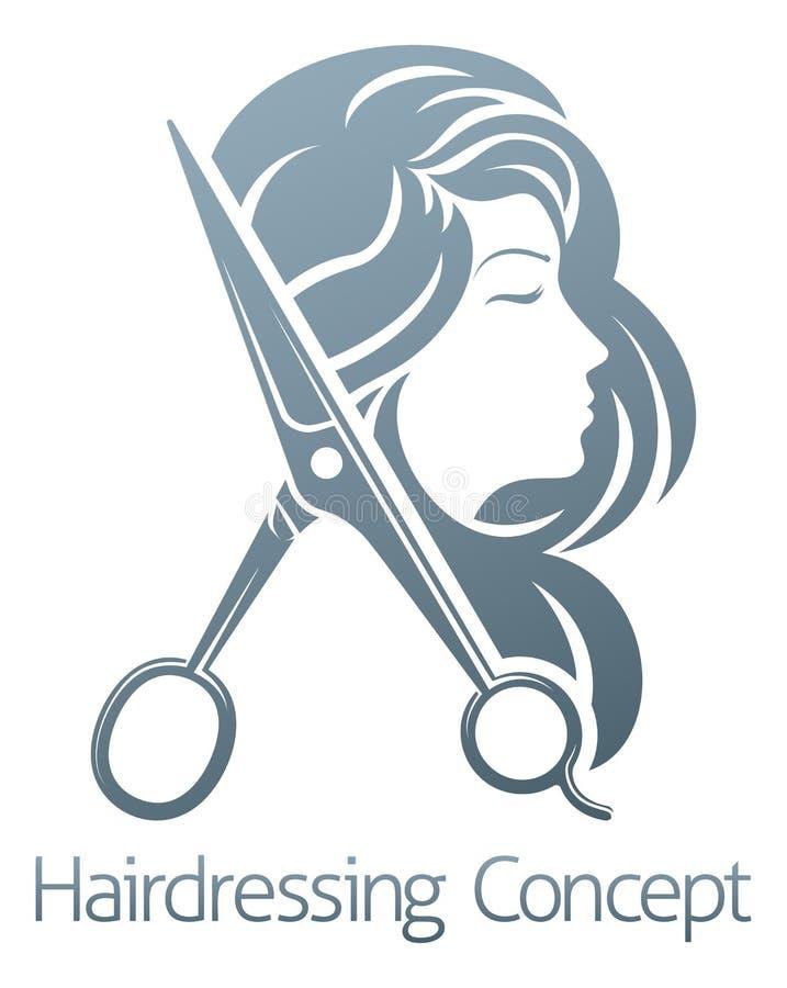 Concepto de la mujer de Hair Salon Scissors del peluquero stock de ilustración