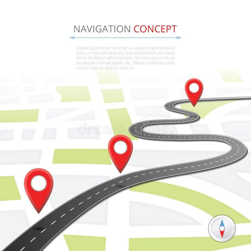 Concepto de la navegación con el indicador del perno ilustración del vector