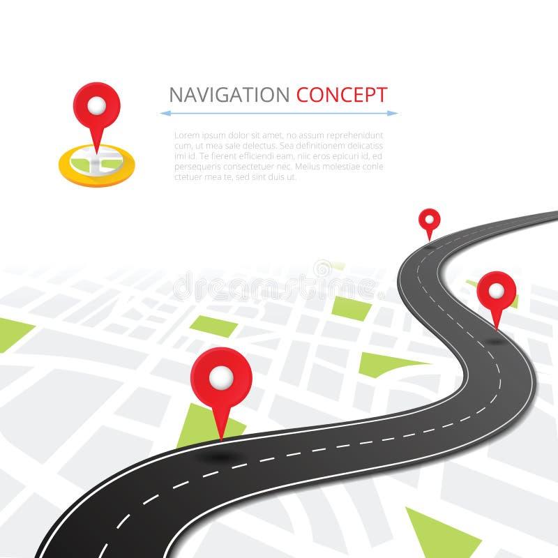 Concepto de la navegación con el indicador del perno stock de ilustración