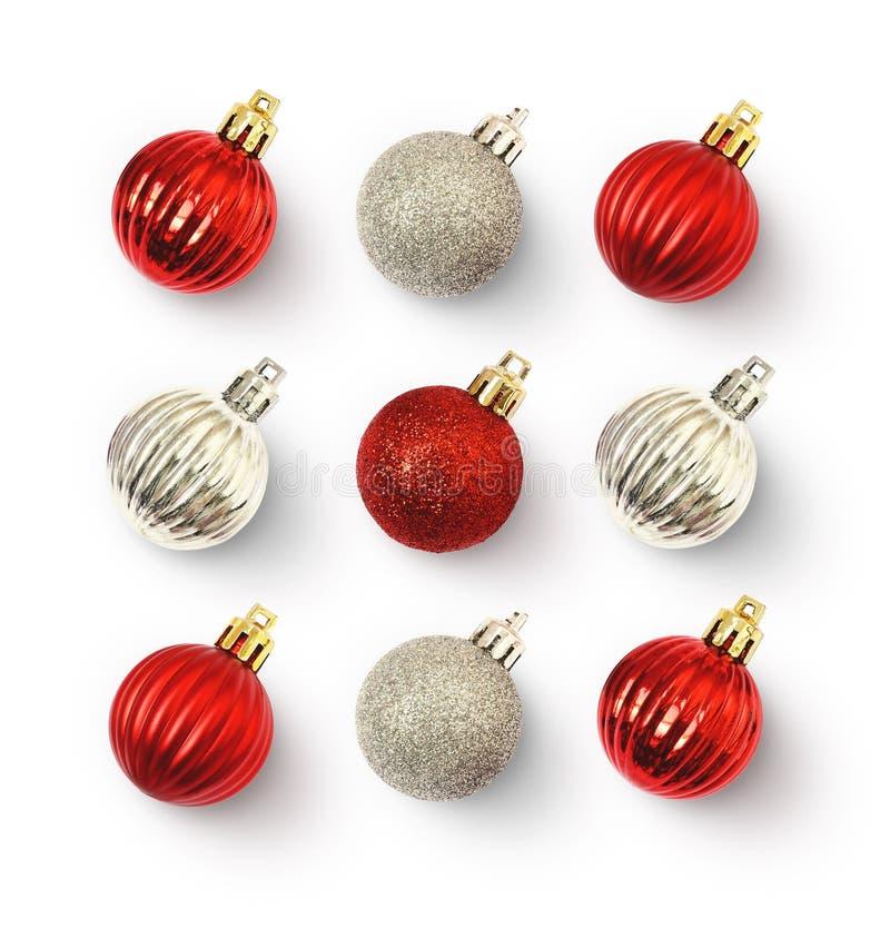Concepto de la Navidad con rojo y bolas de la plata fotos de archivo libres de regalías