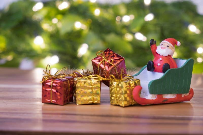 Concepto de la Navidad, trineo de santa del juguete, fotografía de archivo