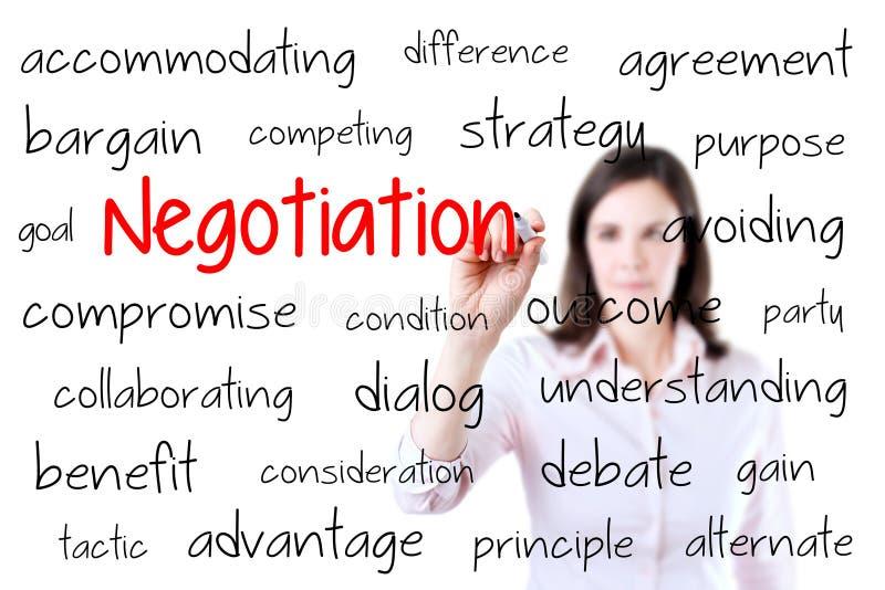 Concepto de la negociación de la escritura de la mujer de negocios Aislado en blanco fotos de archivo