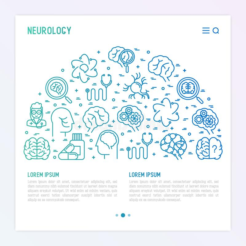 Concepto de la neurología en semi-círculo libre illustration