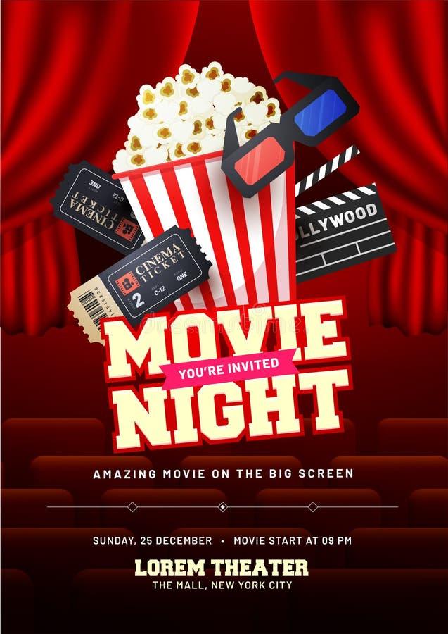 Concepto de la noche de película Plantilla creativa para el cartel del cine, bandera ilustración del vector