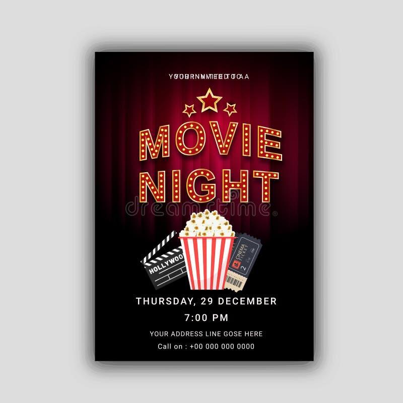 Concepto de la noche de película Plantilla creativa para el cartel del cine, bandera stock de ilustración
