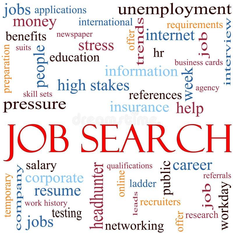 Concepto de la nube de la palabra de búsqueda de trabajo stock de ilustración