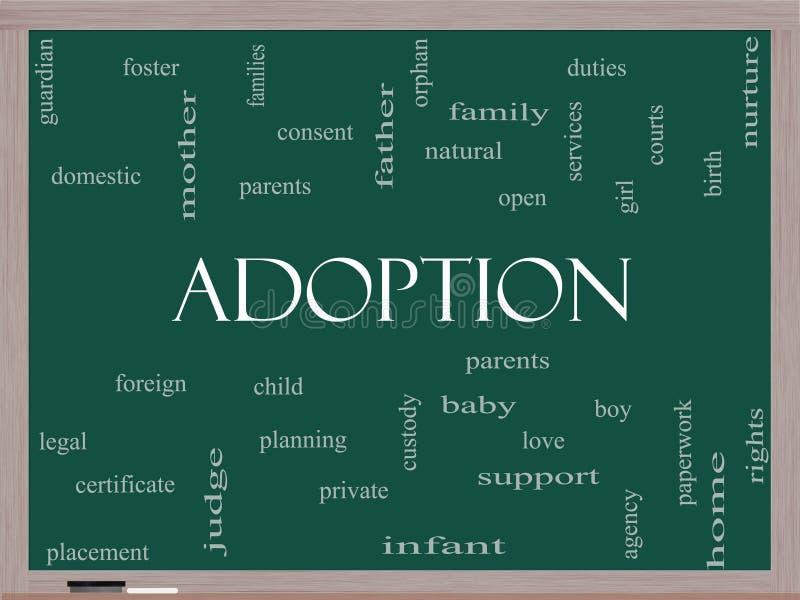 Concepto de la nube de la palabra de la adopción en una pizarra stock de ilustración