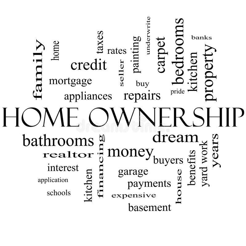 Concepto de la nube de la palabra de la casa en propiedad en blanco y negro stock de ilustración