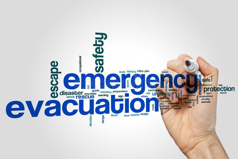Concepto de la nube de la palabra de la evacuación de la emergencia en fondo gris fotos de archivo