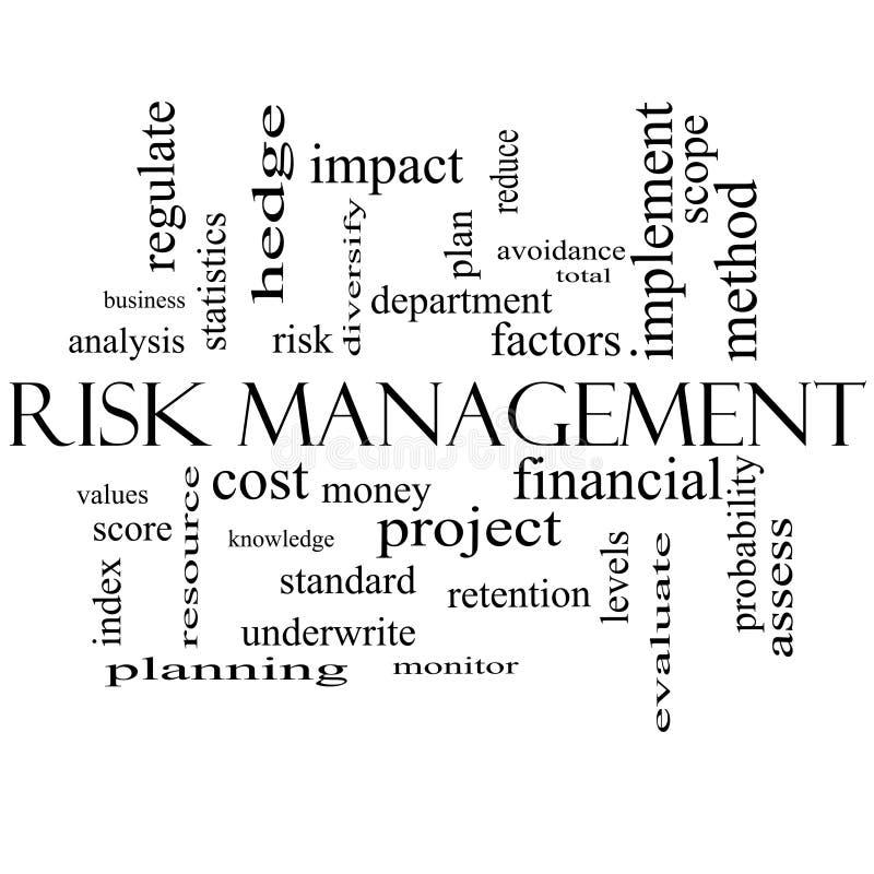 Concepto de la nube de la palabra de la gestión de riesgos en blanco y negro libre illustration