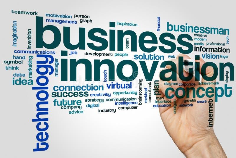 Concepto de la nube de la palabra de la innovación del negocio en fondo gris fotografía de archivo