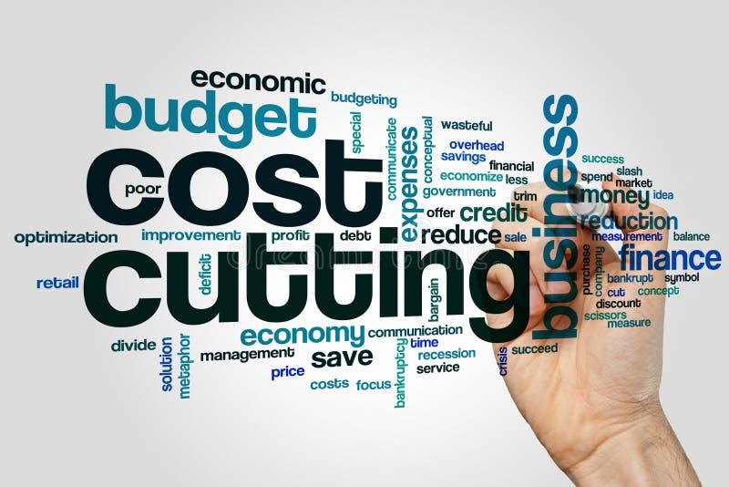 Concepto de la nube de la palabra de la reducción de los costes en fondo gris foto de archivo libre de regalías