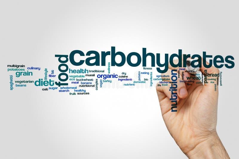Concepto de la nube de la palabra de los carbohidratos en fondo gris stock de ilustración