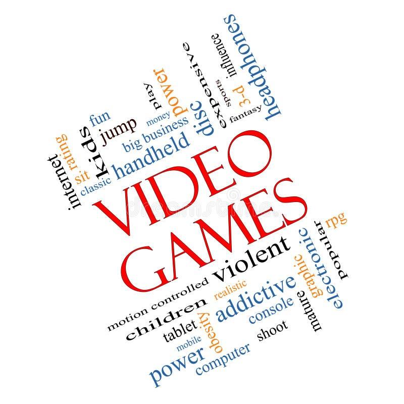 Concepto de la nube de la palabra de los videojuegos pescado con caña libre illustration