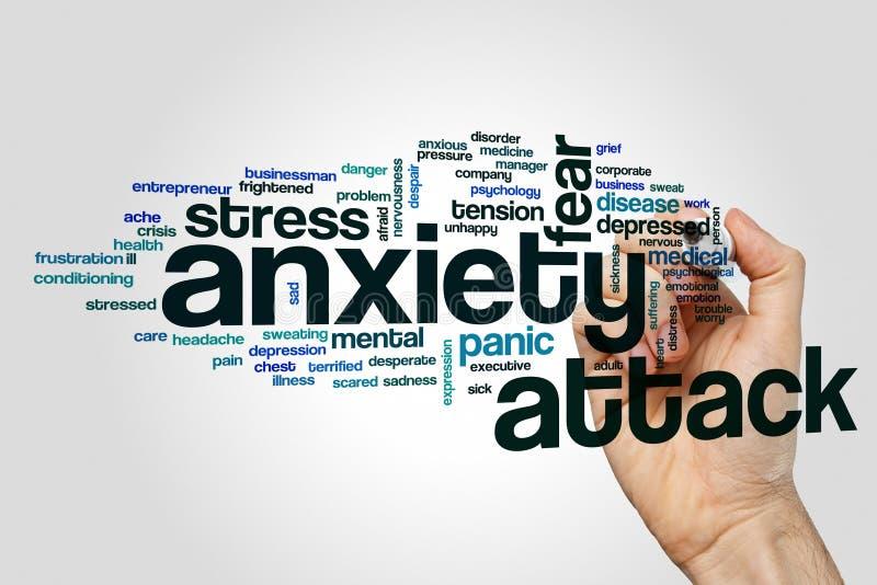 Concepto de la nube de la palabra del ataque de ansiedad en fondo gris imágenes de archivo libres de regalías