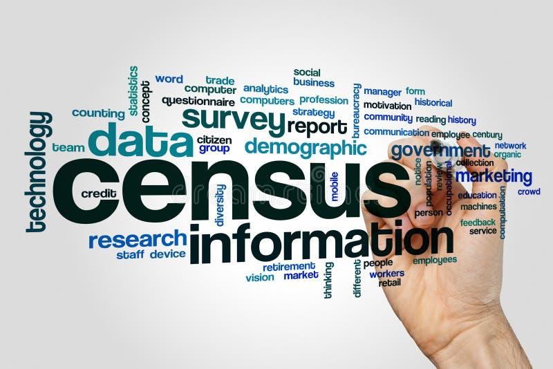 Concepto de la nube de la palabra del censo en fondo gris imagen de archivo libre de regalías