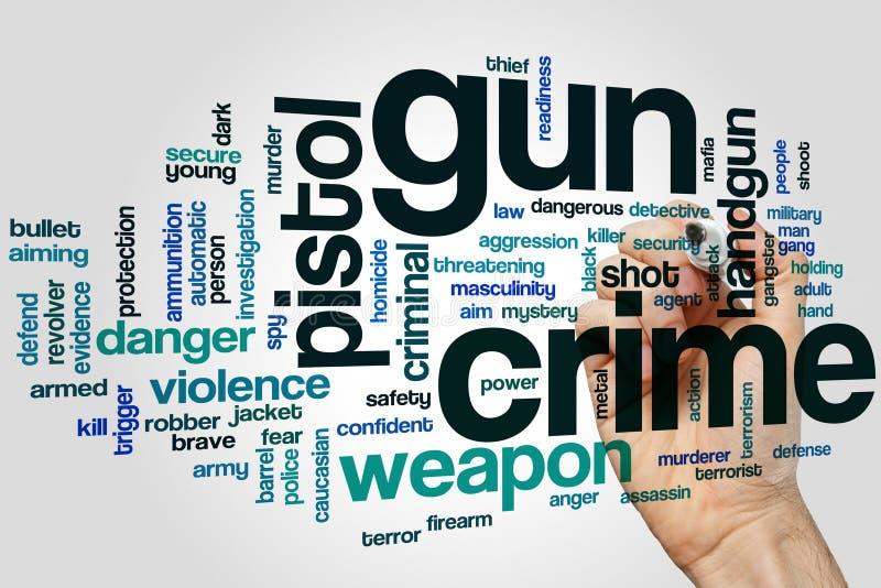 Concepto de la nube de la palabra del crimen del arma foto de archivo