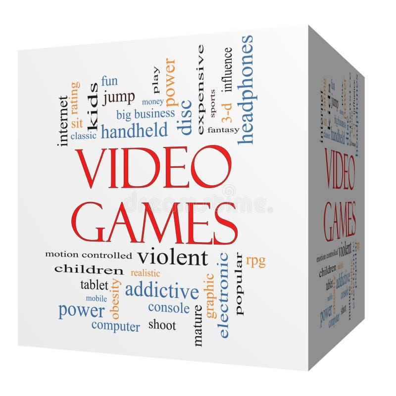 Concepto de la nube de la palabra del cubo de los videojuegos 3D stock de ilustración