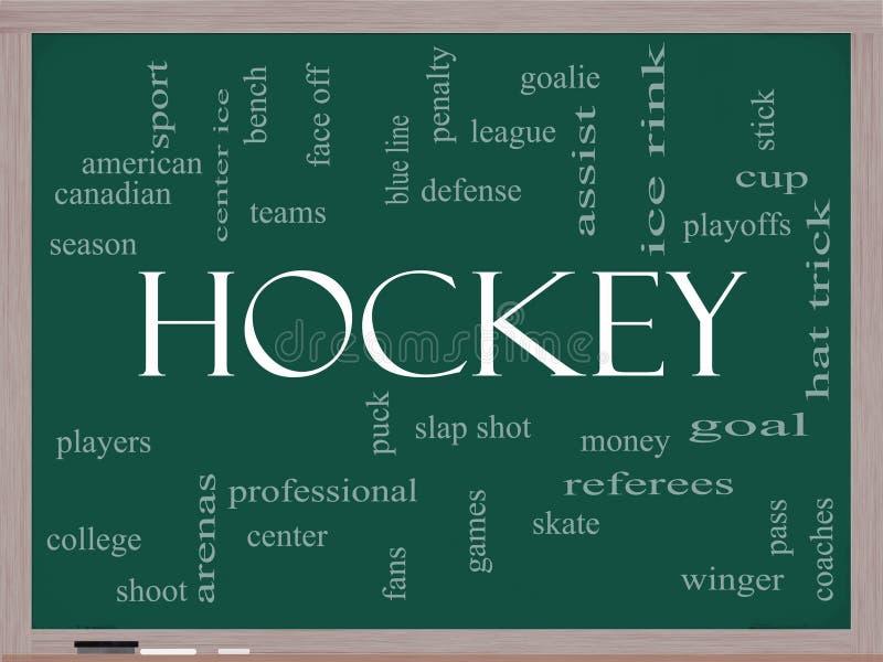 Concepto de la nube de la palabra del hockey en una pizarra stock de ilustración
