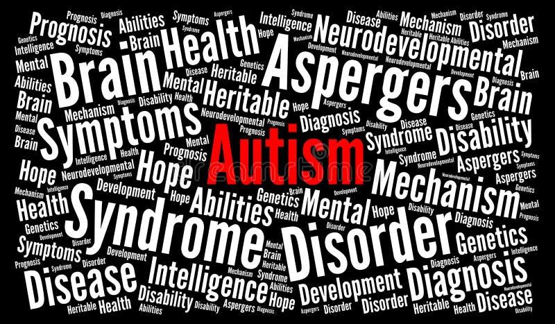 Concepto de la nube de la palabra del autismo stock de ilustración