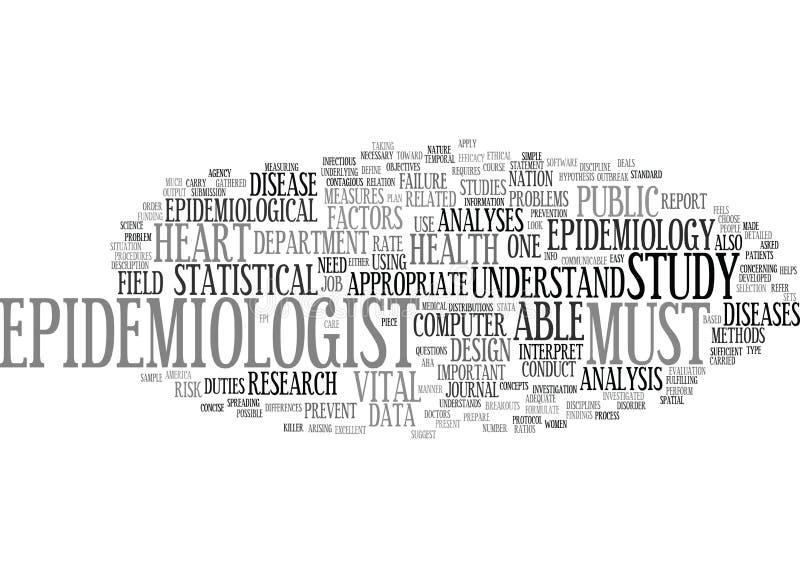 Concepto de la nube de la palabra del fondo del texto de la epidemiología ilustración del vector