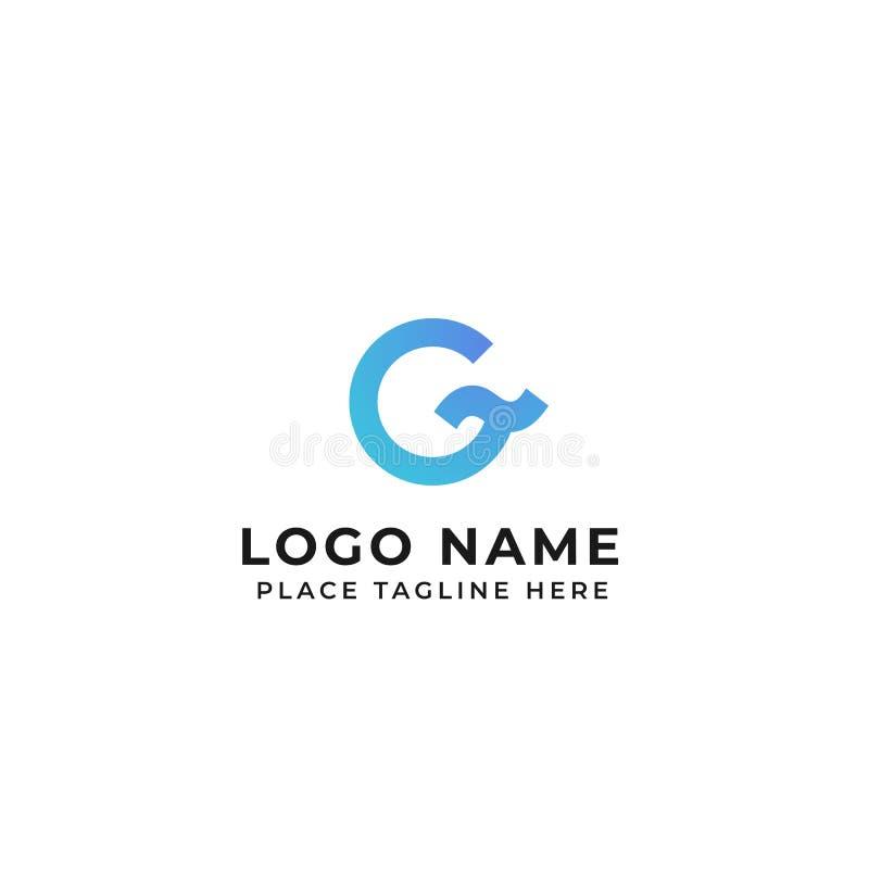 Concepto de la ola oceánica del diseño del logotipo de la letra de G círculo con el ejemplo del icono del vector del símbolo de l ilustración del vector