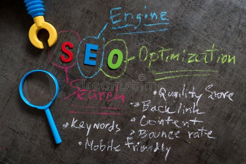 Concepto de la optimización del motor de SEO Search como alfabeto colorido SEO, foto de archivo