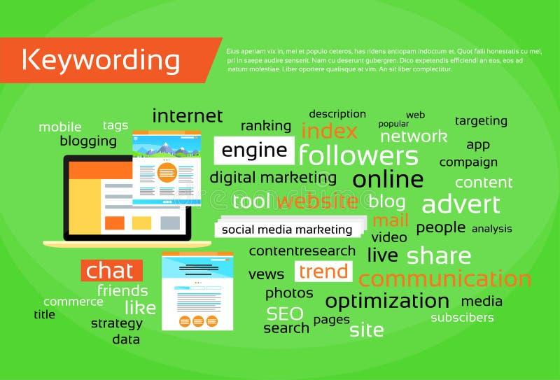 Concepto de la optimización del Search Engine de Keywording ilustración del vector