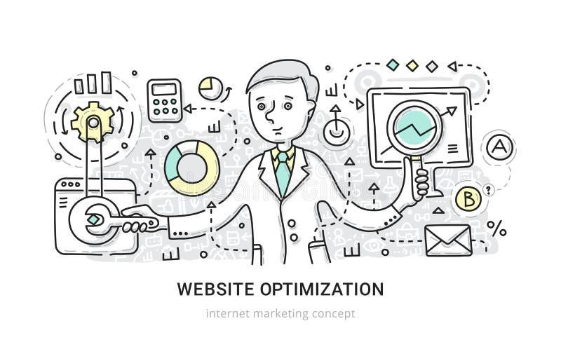 Concepto de la optimización del sitio web stock de ilustración