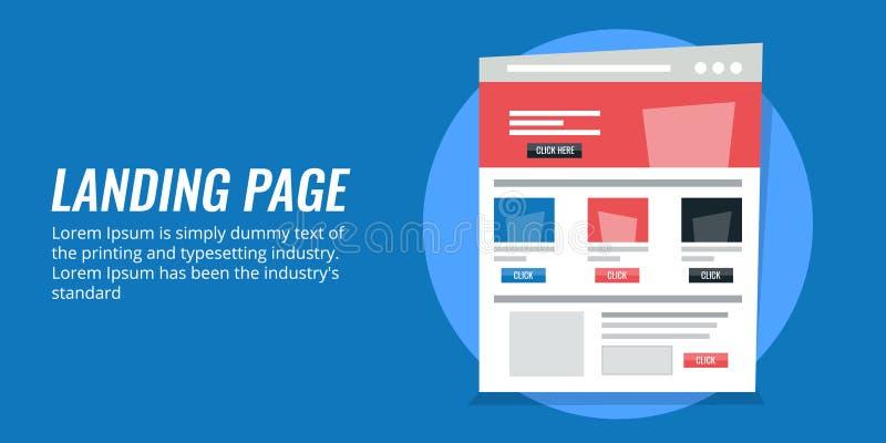 Concepto de la página del aterrizaje, estrategia de marketing digital para el compromiso de la audiencia Bandera plana del vector ilustración del vector