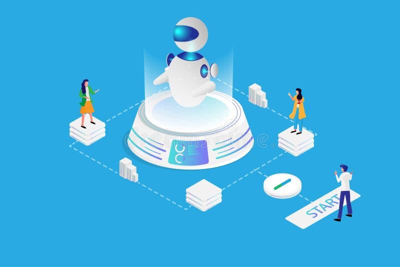 Concepto de la página del aterrizaje de la inteligencia artificial Trabajo en equipo isométrico de los seres humanos en laborator libre illustration