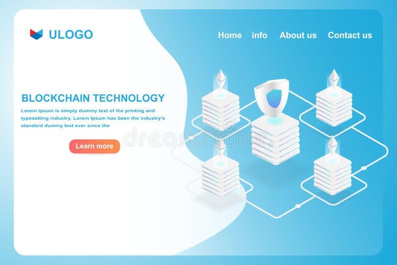 Concepto de la página del aterrizaje de la tecnología de la cadena de bloque 3d isométrico de los datos de la transferencia de la libre illustration