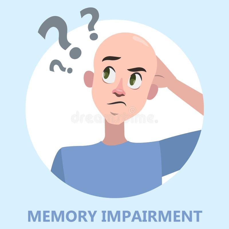 Concepto de la pérdida de memoria Hombre con problema de salud mental libre illustration