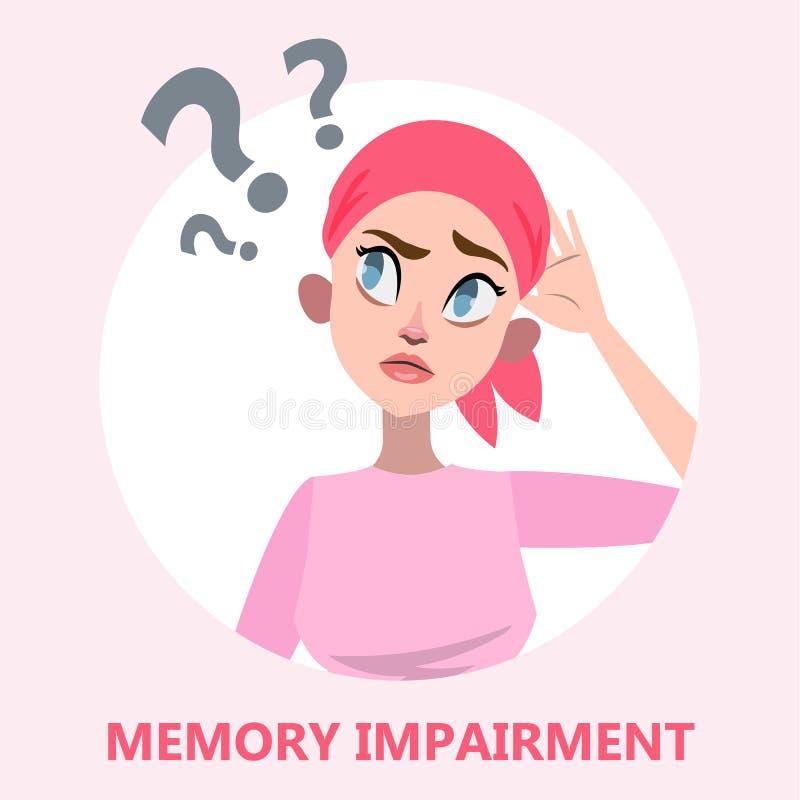 Concepto de la pérdida de memoria Mujer con problema de salud mental stock de ilustración