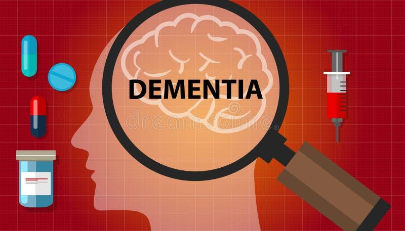 Concepto de la pérdida de la salud de la neurología de la cabeza del problema de memoria del cerebro de la demencia stock de ilustración