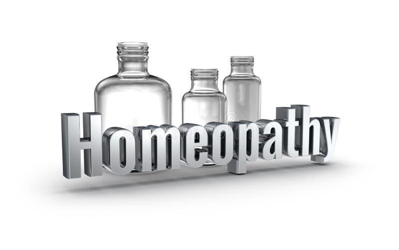 Concepto de la palabra de la homeopatía 3d sobre blanco ilustración del vector