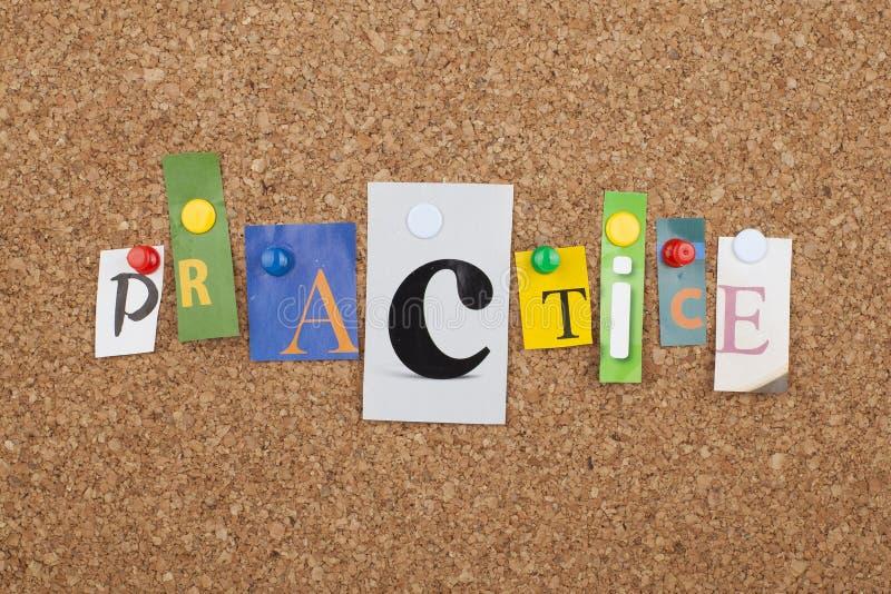 Concepto de la palabra de la práctica imágenes de archivo libres de regalías