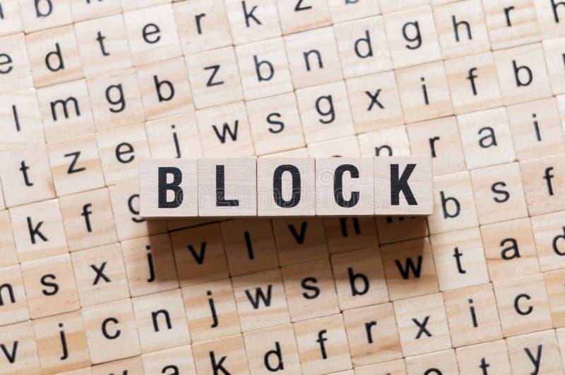 Concepto de la palabra del bloque en los cubos fotografía de archivo libre de regalías