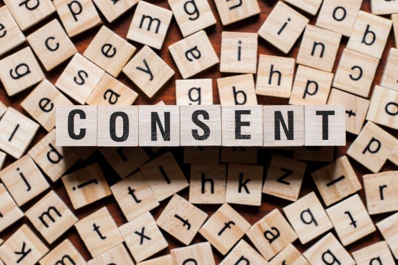 Concepto de la palabra del consentimiento imagen de archivo