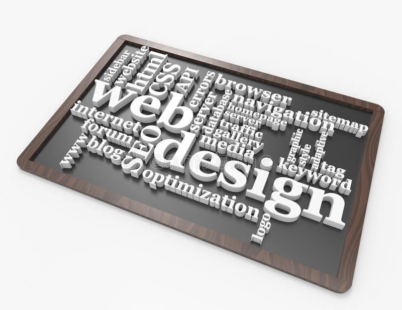 Concepto de la palabra del diseño web en la pizarra ilustración del vector