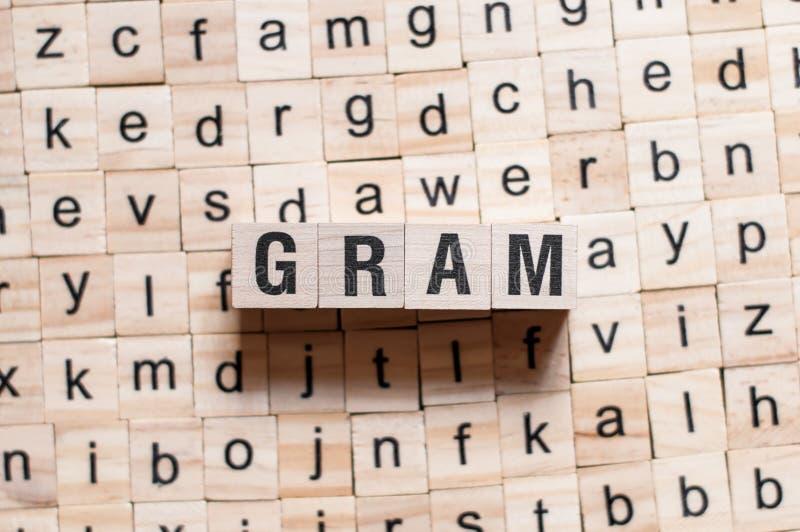 Concepto de la palabra del gramo fotografía de archivo libre de regalías